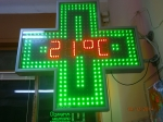 LED Pharmacy Crosses clock / temperature / date